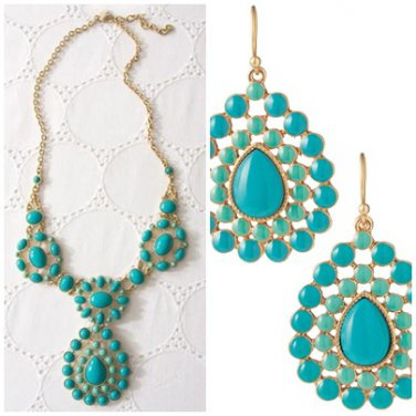garlicfashion special elegant women fashion Charlize Teardrop turquoise necklace earrings set