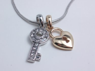 garlicfashion DIY handmade women fashion key & lock necklace