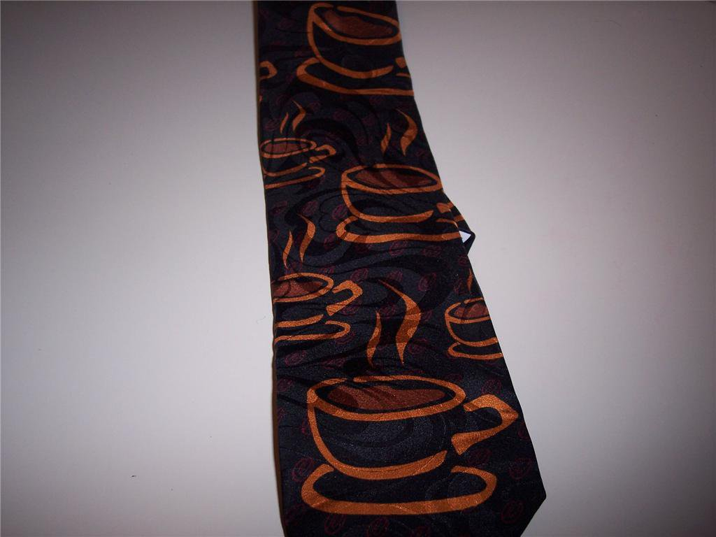 NEW! Coffee Cup 100% Imported Silk Novelty Tie-Ralph Marlin Black (Made in USA)