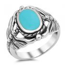 Genuine Turquoise Dragon Fly Sterling Silver Ring