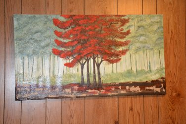 Red tree oil painting
