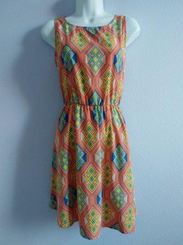 LILA Pink Geometric Sleeveless Summer Sun Dress Size S New