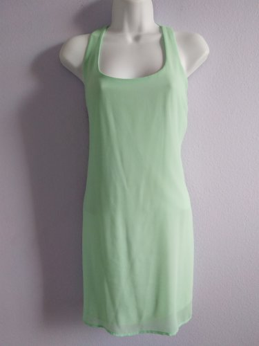 SAGE Lime Sleeveless Summer Dress with Bow Made in USA New