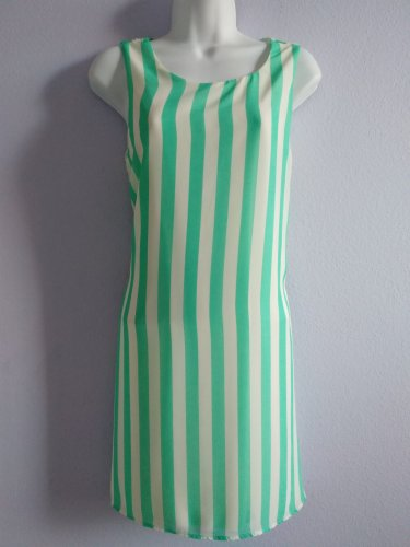 LILA Lime Stripe Sleeveless Summer Dress Tie Back Made in USA New