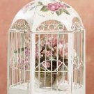 Metal Distress Floral Birdcage