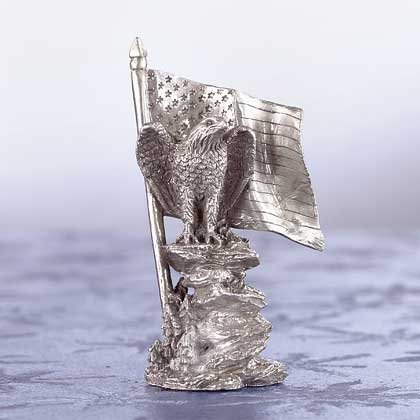 Pewter Eagle on Rock with Flag
