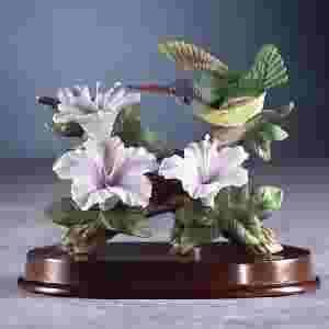 Porcelain Hummingbird at Flower