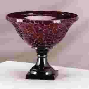 Red Mosaic Bowl with Brass Base
