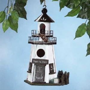 Wood Lighthouse Birdhouse (White)