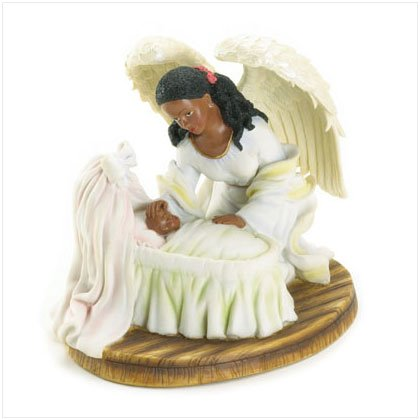 Guardian Angel with Baby in Cradle