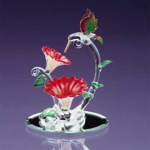Glass Hummingbird and Flower