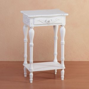 White Carve Side Table