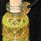 Yellow Beaded Bottle Necklace ~ Pixie, Faerie dust holder