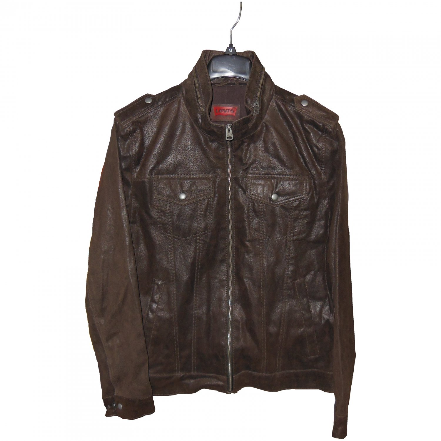 Levi's Zip Military Trucker 100% Leather Jacket Dark Brown LM3R6400, Medium