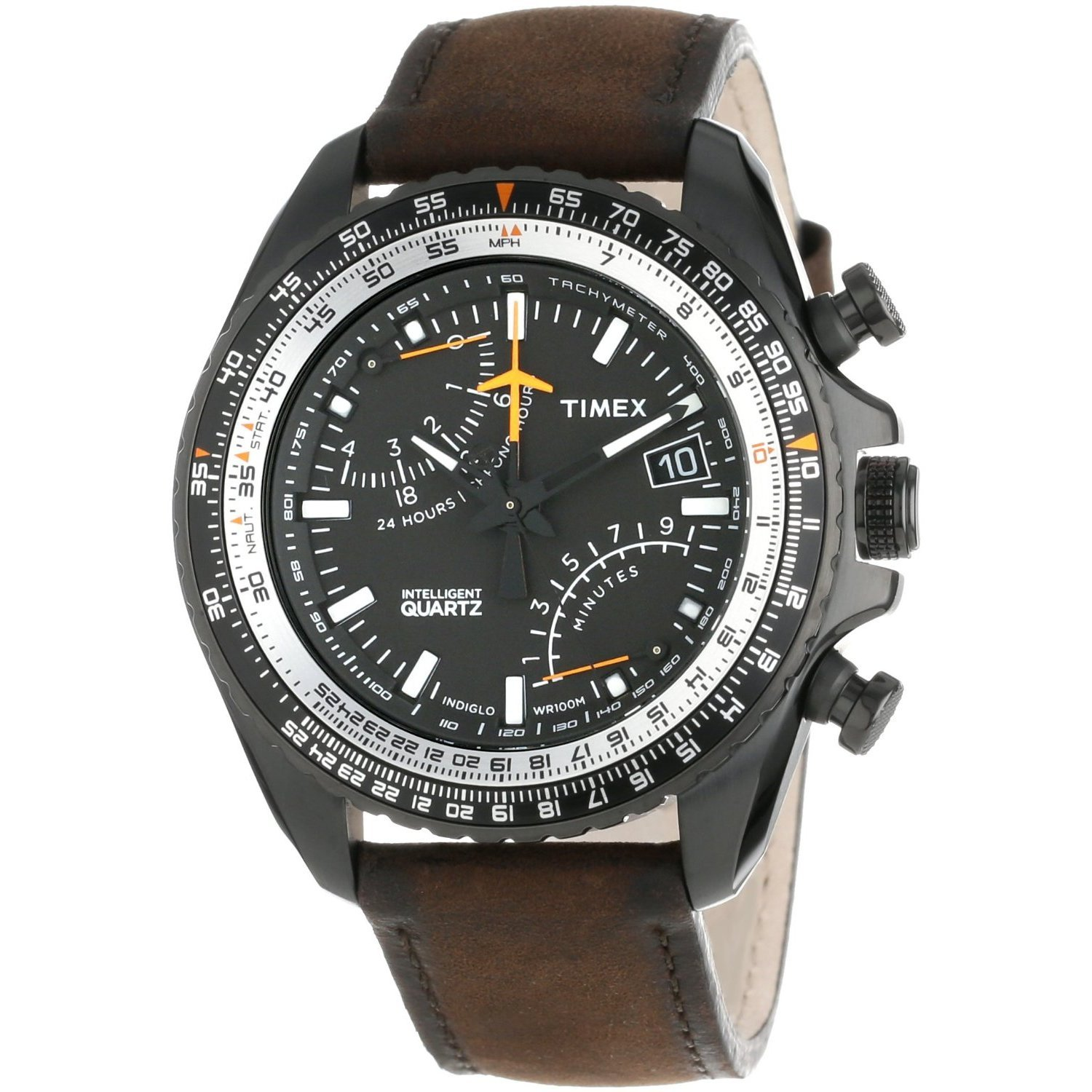 Timex T2P102 IQ Aviator Fly Back Analog Chronograph Watch, Leather