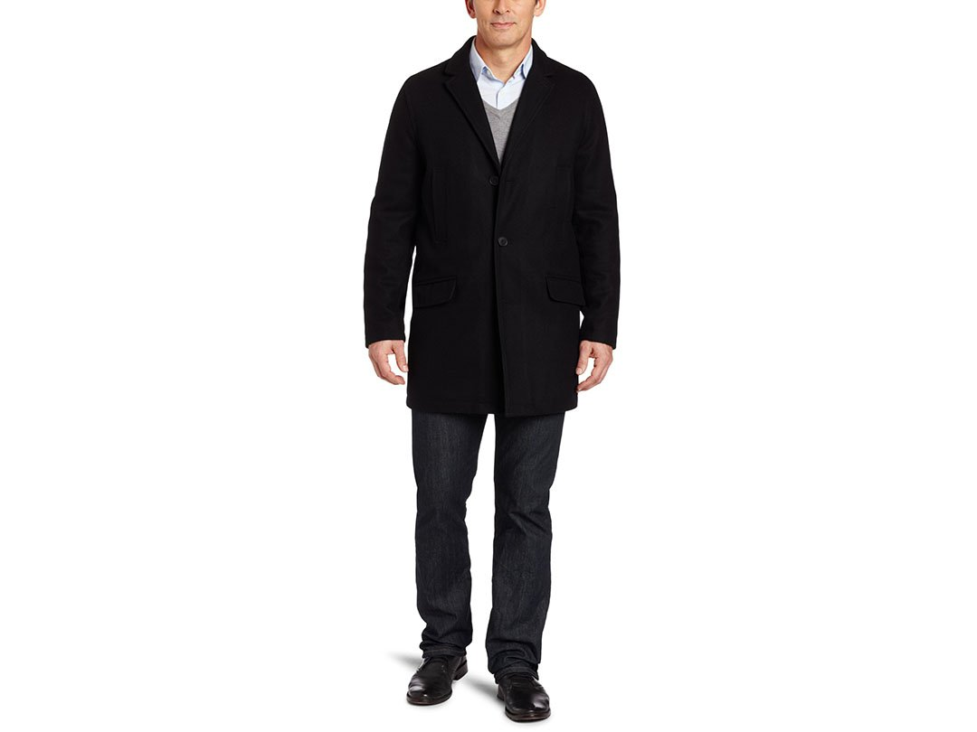 Tommy Hilfiger Men's Melton Top Coat Black Wool Blend Jacket/Overcoat, Small