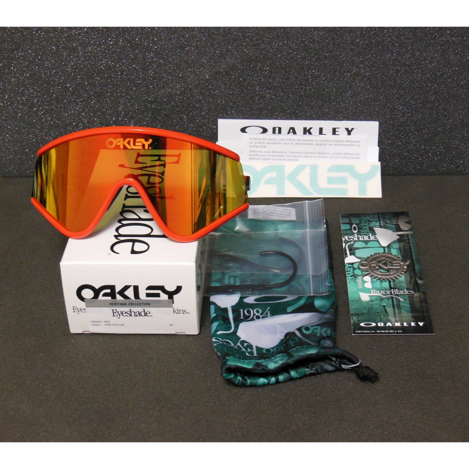 Oakley Eyeshade Heritage Collection Retro Sunglasses, Red/Fire Iridium