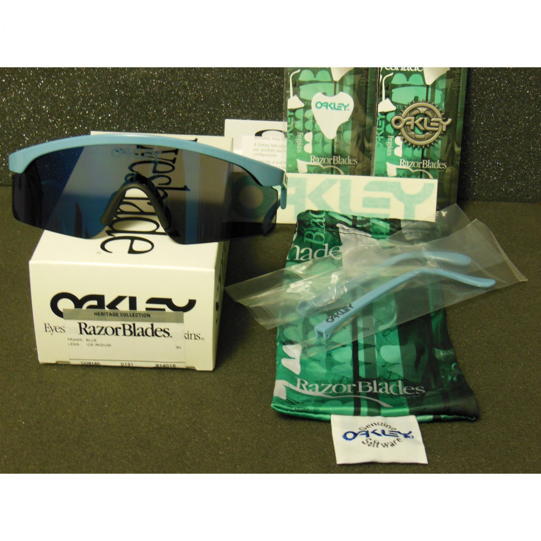 Oakley Heritage Collection Razor Blades Retro Sunglasses, Blue/Ice Iridium