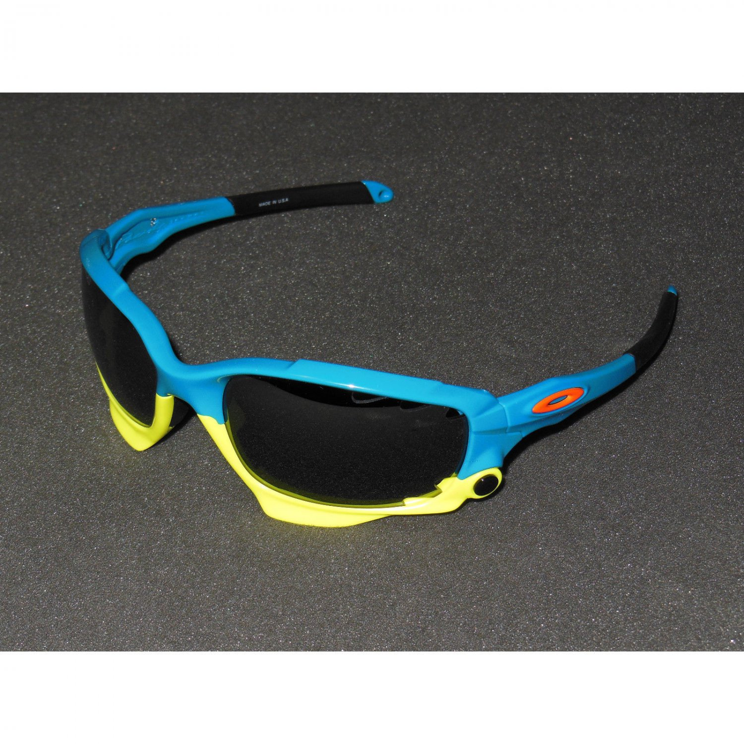 Oakley Racing Jacket Sunglasses Fathom Series Pacific Blue/Black Iridium/Clear Vented