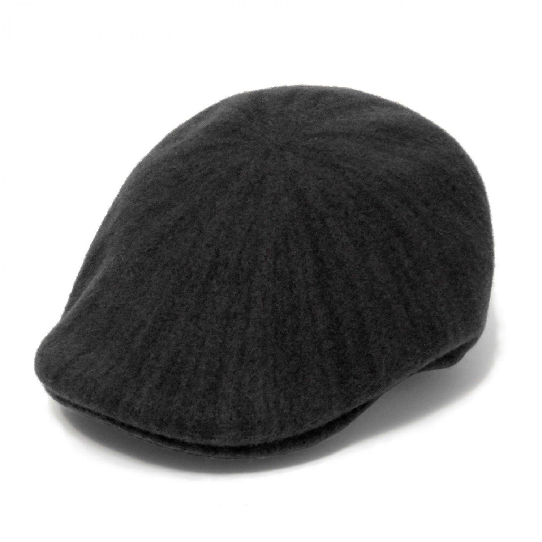 4b2aee89613 Kangol Men s Melange 507 Black Duckbill Wool-Blend Flat Cap