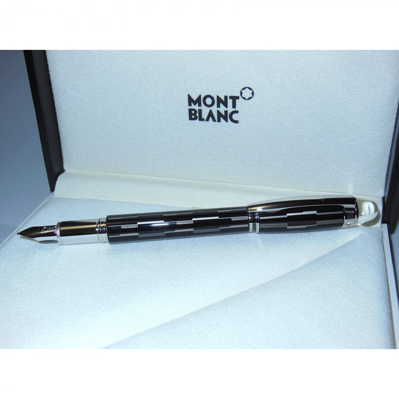 2ND Montblanc Starwalker Black Mystery Fountain Pen Black/Platinum 104224 M Nib