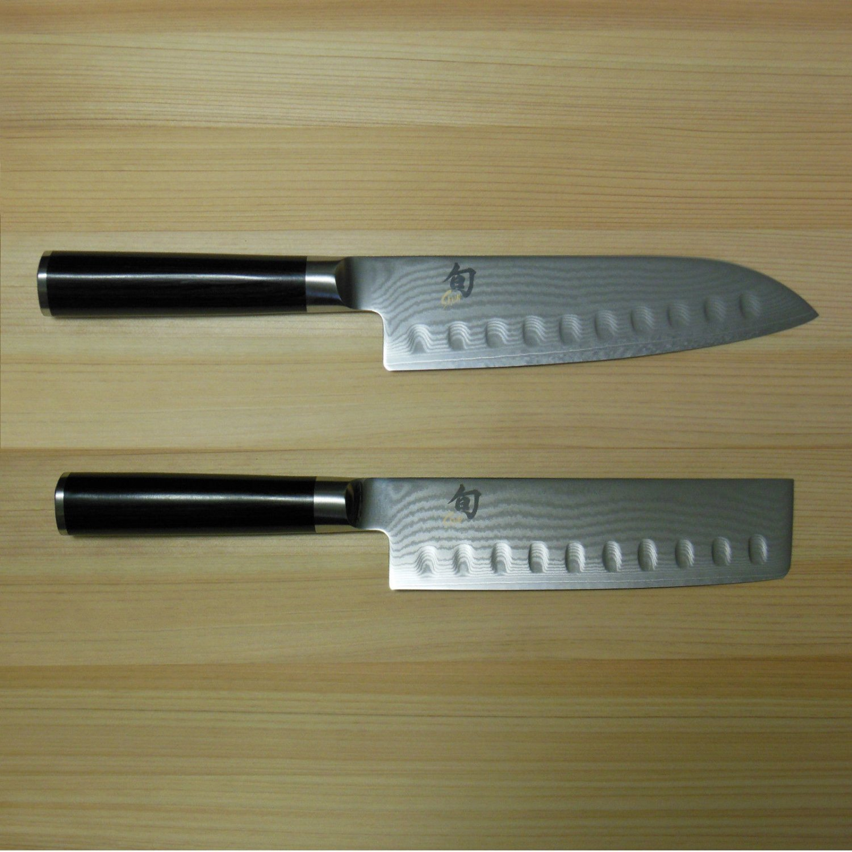 "Shun Classic 7"" Santoku/6,5"" Nakiri Knife Set DM0718/DM0739"