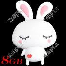 Cute Rabbit Shaped USB Flash Memory Stick Jump Drive U Disk 8GB - White