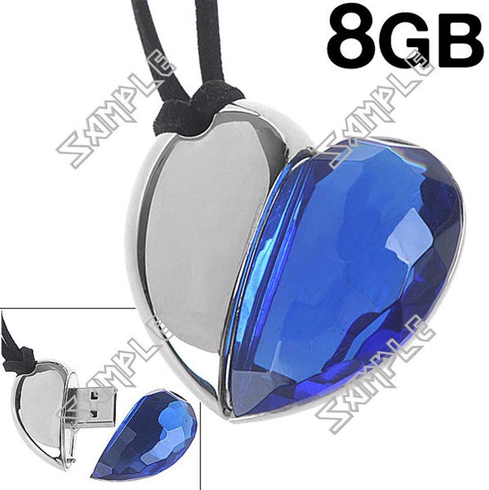 Heart Shaped 8GB USB Flash Memory Drive U Disk Stick with Neck String - Blue Diamond