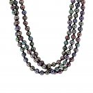 14K Yellow Gold 3 Strand Black Pearl Necklace