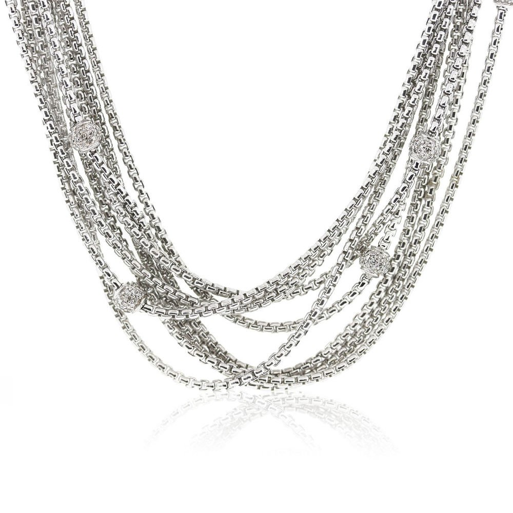 david yurman 8 strand sterling silver diamond necklace
