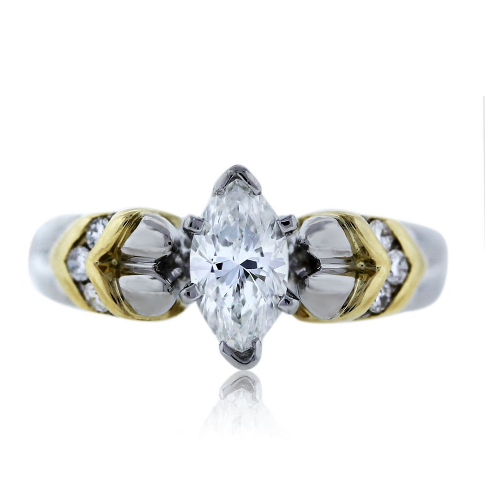 platinumand 18k yellow gold marquise cut