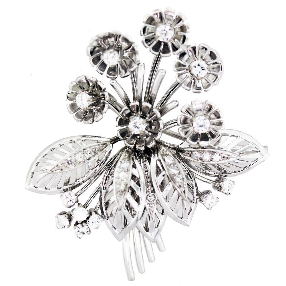 vintage 18k white gold diamond flower bouquet pin 1 carat