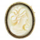 14k Yellow Gold White Shell Cameo Pin