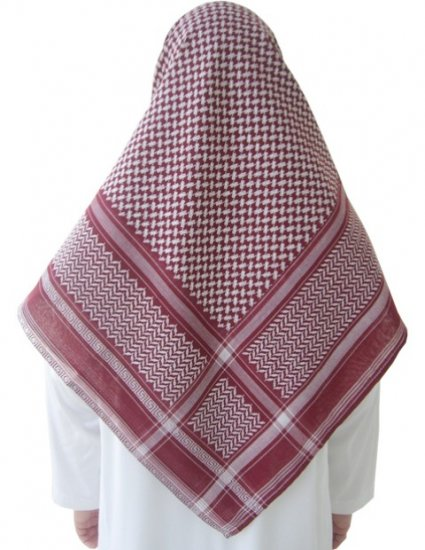 White / Dark Red Shemagh / Kufiya / Kafiya / Arab Scarf