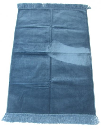 Sea Blue Islamic Prayer Rug, One-Coloured, Plain
