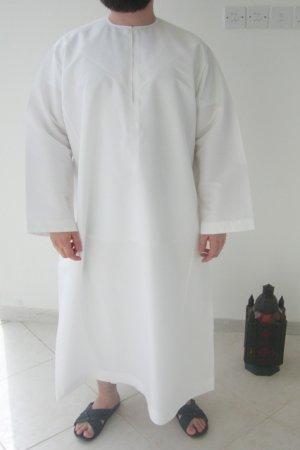 White Stiff Emirates Gandoura / Dishdash / Thob / Kameez