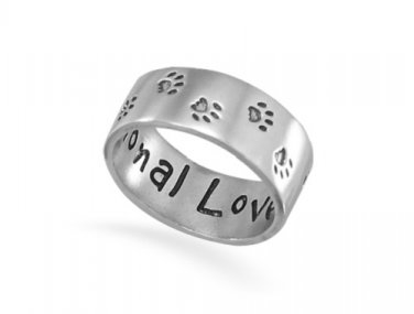 """Fashion Ring Sterling Silver Paw Print Jewelry """"Unconditional Love"""" - Sizes 6 - 10"""