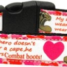 NEW MY HERO WEARS COMBAT BOOTS Size LG Dog Collar