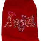 ANGEL Sweater Red with Colorful Rhinestones SIZE SMALL- Fits 7 to 10 lb Pet
