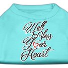 Dog Shirt WELL BLESS YOUR HEART Aqua SIZE XSMALL