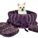 SALE Purple Cheetah Print Pet Travel Carrier, Bed & Car Seat Reversible