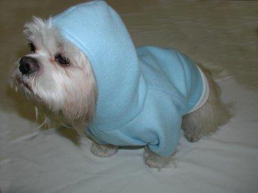 Dog Coat Parka FLEECE Blue Custom Order SIZE XXXS TO SM