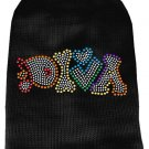 Pet Sweater DIVA Black with Color Rhinestones SIZE SMALL