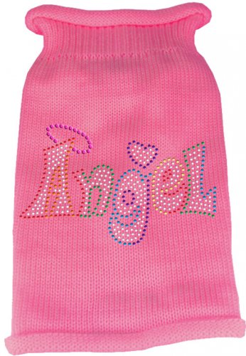 Dog Sweater ANGEL Pink with Colorful Rhinestones SIZE SMALL