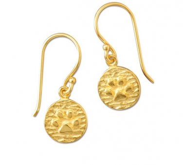 Fashion Earrings 14Kt Gold Plated Paw Print with French Backing
