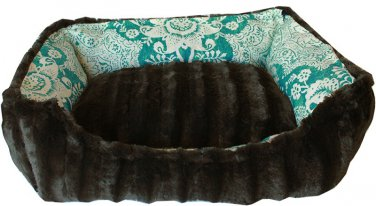 MEDIUM PET SNUGGLE BUMPER BED FULLY REVERSIBLE IN TEAL FLORAL SIZE
