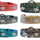 """DRAGON LEATHER FLOWER CHARMS DOG COLLAR - SIZES SMALL(8"""" - 10"""")"""