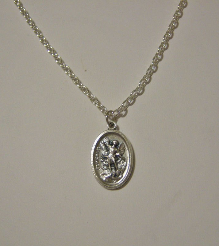st michael medal silver plated necklace u length