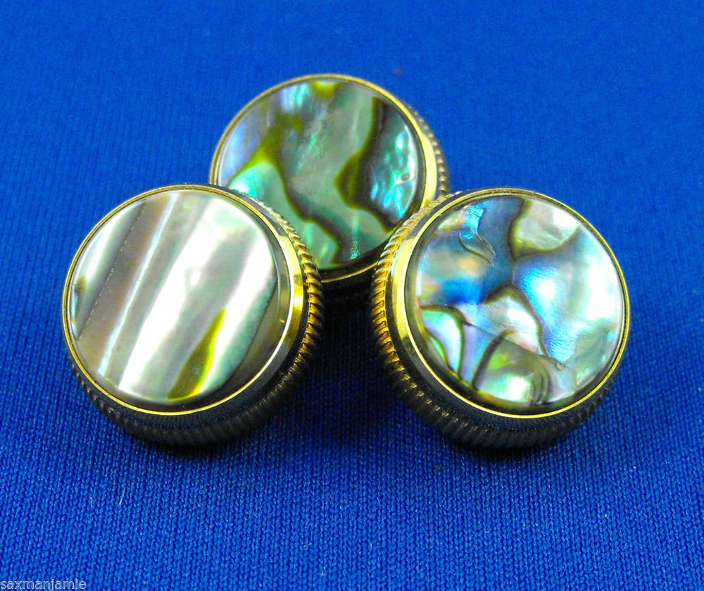 24k Gold Plated Paua Abalone Valve Finger Buttons as Pictured
