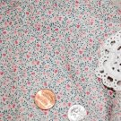 Vtg Cotton Fabric Tiny Hearts Print Cream Rose Teal Dolls Hitty Bisque French